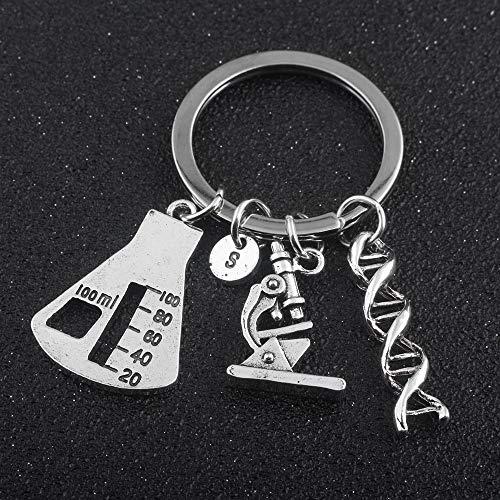 Joyería Química Biológica Herramienta Experimental Key Chains Cónico Frasco Químico Molecular ADN Llave Colgante