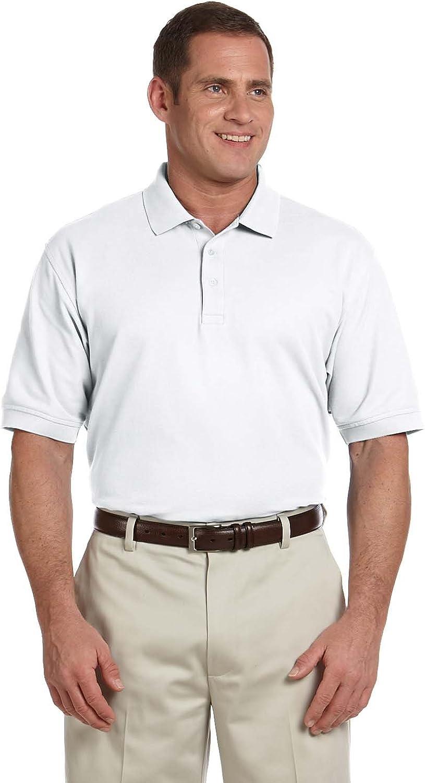 Devon & Jones Men's Tall Pima Pique Polo Shirt, White, XXX-Large Tall