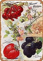 1896年リードのフルーツシードカタログ、ブリキの看板、ヴィンテージの鉄の絵の金属板ノベルティの装飾クラブカフェバー