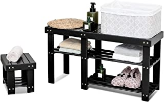Giantex Bamboo Shoe Bench, 3 Tier Shoe Storage Bench with Stool, Heavy Duty Set of 2 Shoe Shelf Storage Organizer for Adult and Child Black (Black)