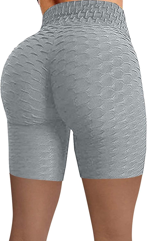 Peach Lift Leggings for Women,Butt Lifting Yoga Shorts for Women Tummy Control Leggings Textured Ruched Running Shorts