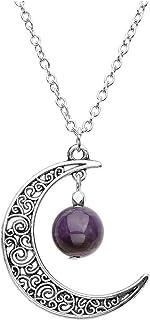 QGEM - Collar con colgante en forma de luna hueca con energía piedra chakra natural para mujer y hombre