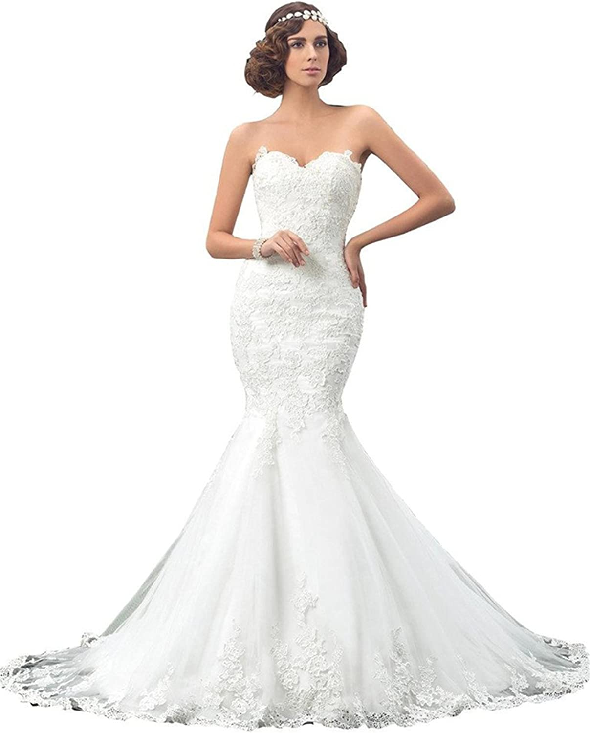 Annxpink Women's Beaded Appliques Sweetheart Tulle Long Mermaid Wedding Dress Bridal Gown