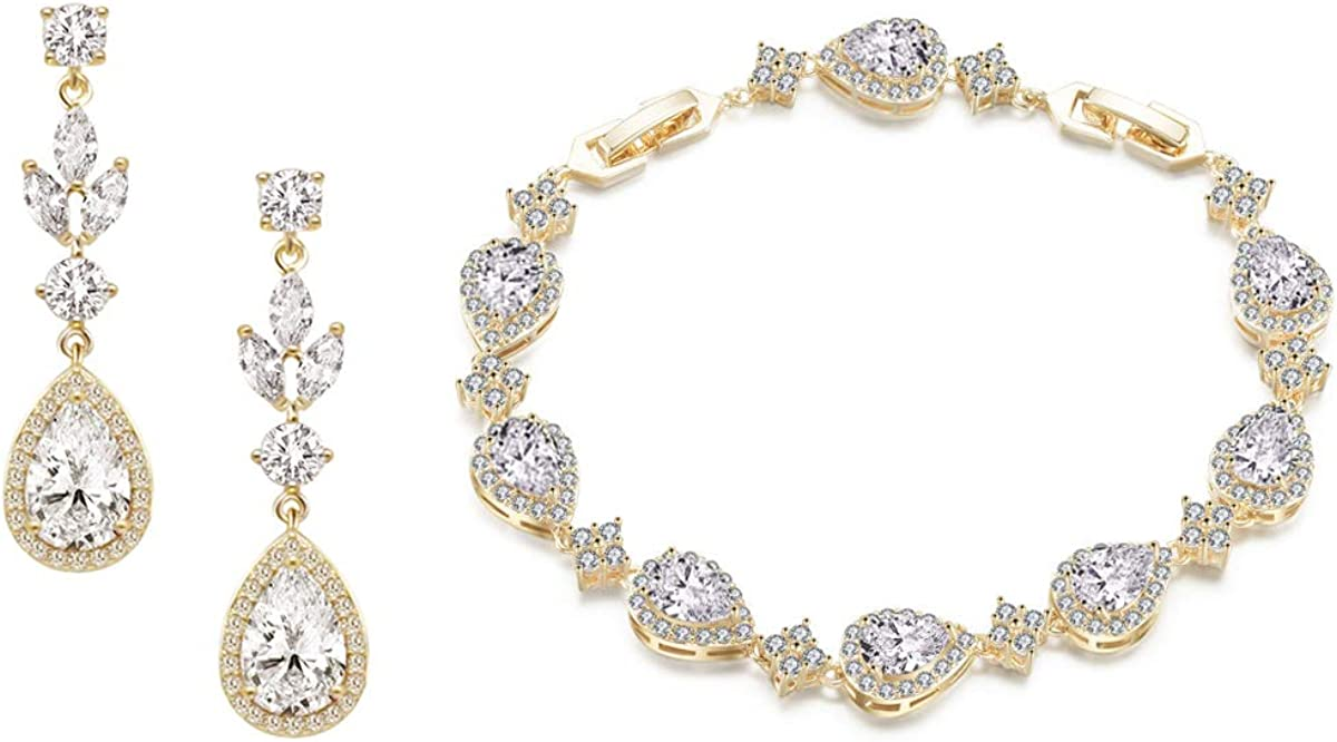 UDORA Zirconia Teardrop Earrings Bracelet Jewelry Sets Brides Bridesmaids Wedding Prom Party