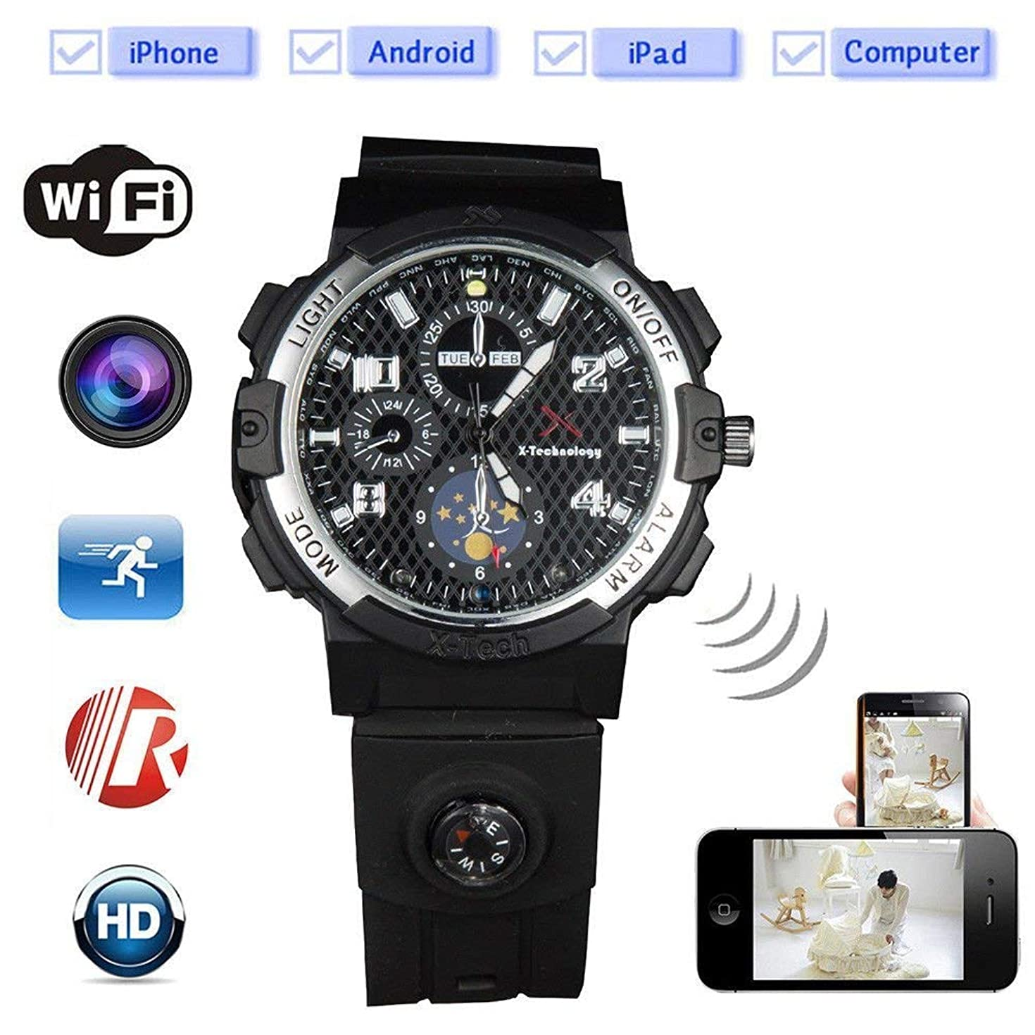 Smart WiFi Watch Remote Monitoring Mini Camera Wireless Watch 720P HD IP P2P Night Version DV Video Audio Recorder (Built in 32 GB)