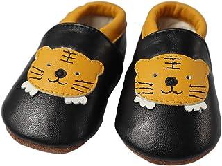 e689a24268218 Vesi-Chaussures Bébé Cuir Souple Chaussons Premiers Pas Respirant pour  Garçon Fille Nourrisson Efant Tigre