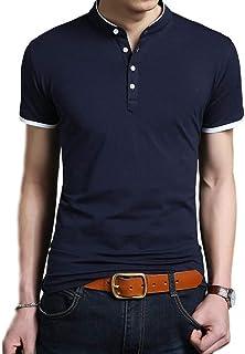 [ベンケ] ポロシャツ メンズ 半袖 無地 ヘンリーネック ボタン Tシャツ カジュアル カットソー 春 夏 トップス