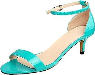 wealsex Sandales Escarpins Cuir Vernis Femme Talon Moyen Bout Ouvert Bride Cheville Boucle Chaussure Confort Soirée Mariag...