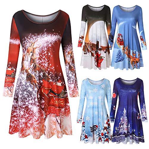 Gofodn Weihnachtskleid für Damen, Party, Freizeit, Vintage, Übergröße, Weihnachtsdruck, Lange Ärmel, Mini-Abendkleid Gr. X-Large, himmelblau