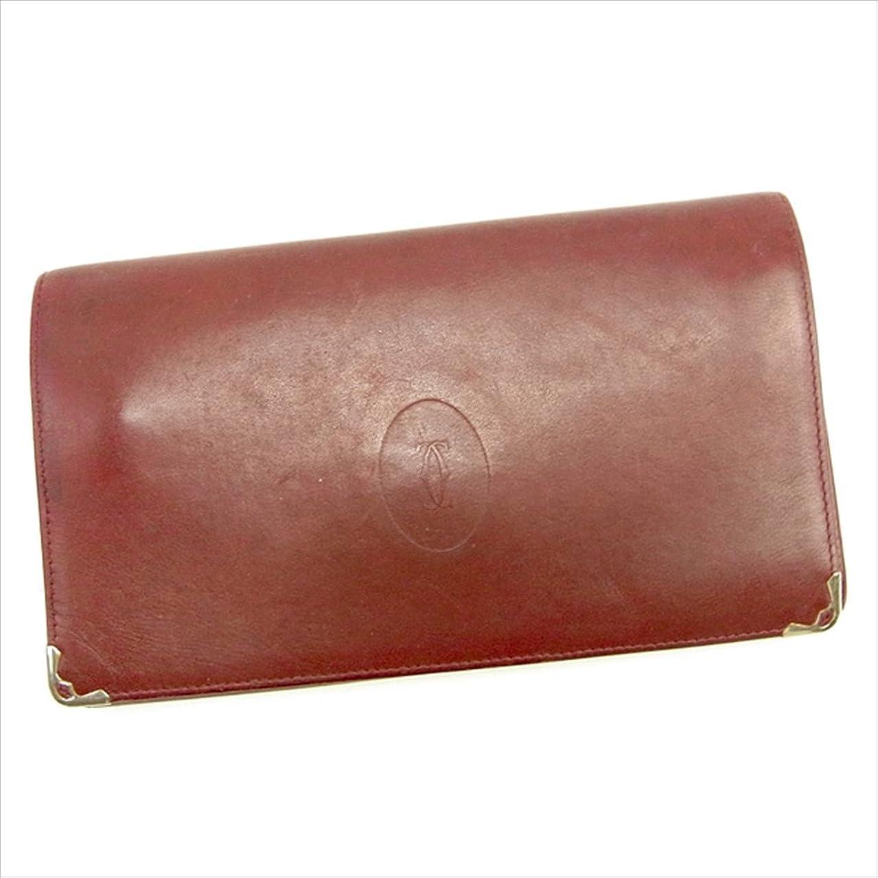 チャーター日帰り旅行にメダル(カルティエ) Cartier 長財布 がま口 財布 ボルドー×ゴールド マストライン レディース メンズ 可 中古 T1227