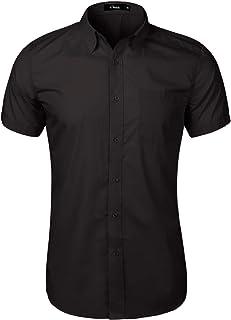 Camisa de Manga Corta de Color sólido para Hombre con Botones Blusas de Ajuste para el Ocio Traje Boda