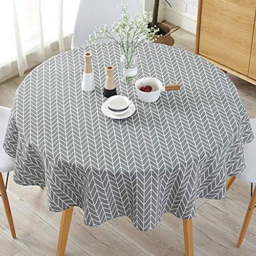 JUNGEN Mantel Redondo 150cm Mantel Estampado de Flecha Mantel de algodón y Lino Mantel Decorativo para Fiesta Cocina Comedor Jardin Estilo nórdico Gris