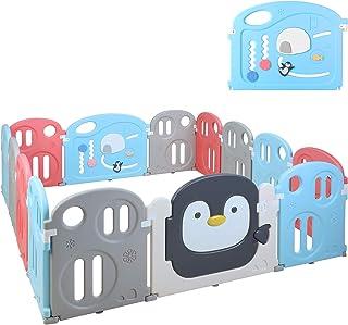 Bamny Parque Infantil Bebe con Puerta de Plástico Extensibl