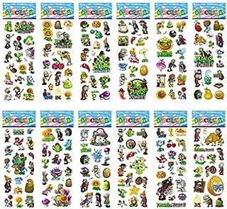 DADATU Stickers 12 Sheets/Set PVZ Plants vs Zombies Stickers 3D Cartoon Classic Toys Children Scrapbook Diary Note Book Sticker for Kids Gift