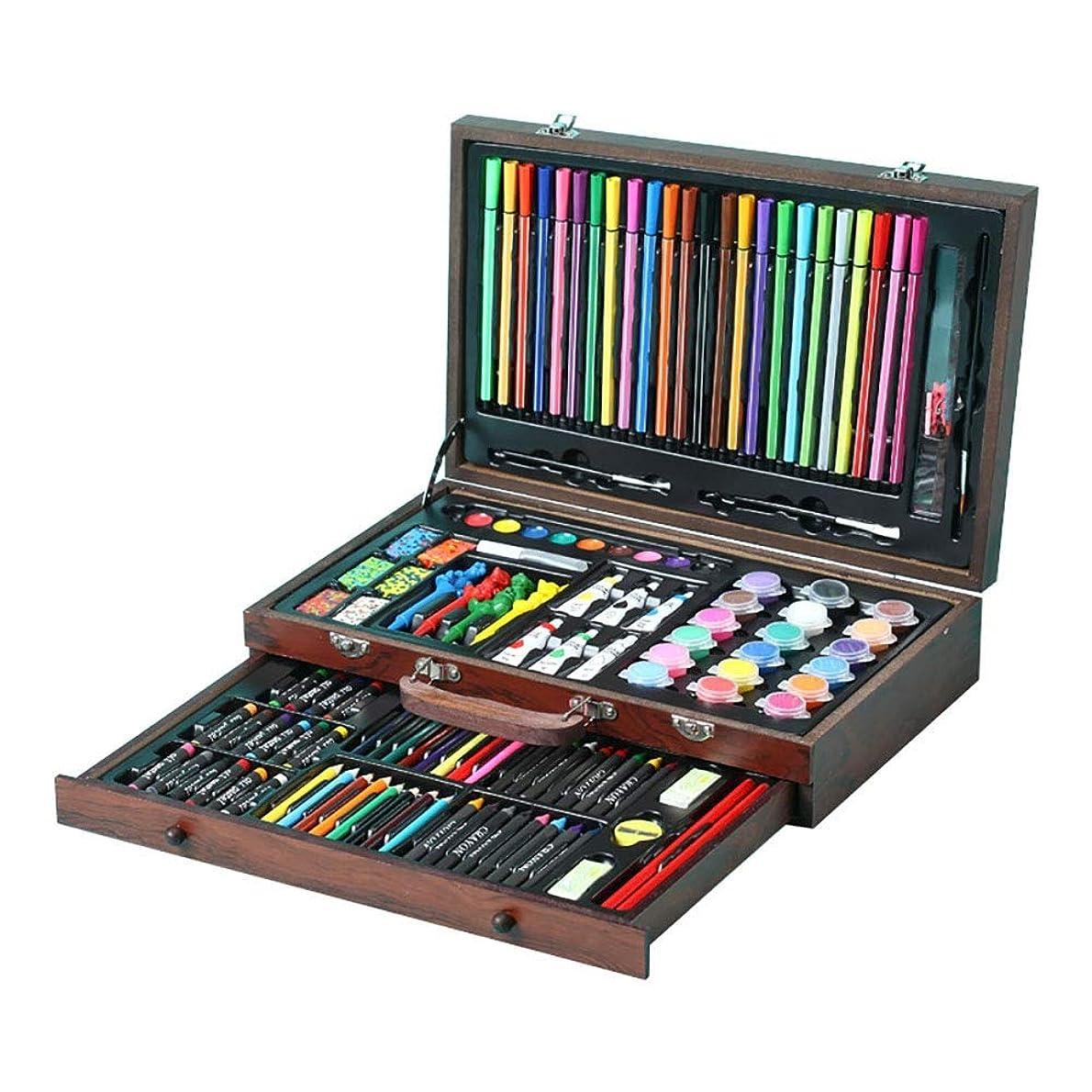エネルギー実験室マーキー木箱の絵画そしてデッサンの芸術のキットのための130部分の携帯用品は水彩絵の具オイルパステルカラー鉛筆を含みます 美しい作品を描く (Color : Natural, Size : Free size)