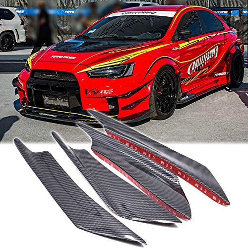 Xotic Tech Bumper Guard Decoration - 4pcs Carbon Fiber Painted Bumper Canards Splitters Lip for Mitsubishi Lancer EVO X 10