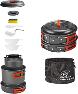 Sponsored Ad - Bulin 27/13/11/8/3 PCS Camping Cookware Mess Kit, Nonstick Lightweight Backpacking Cooking Set, Outdoor Coo...