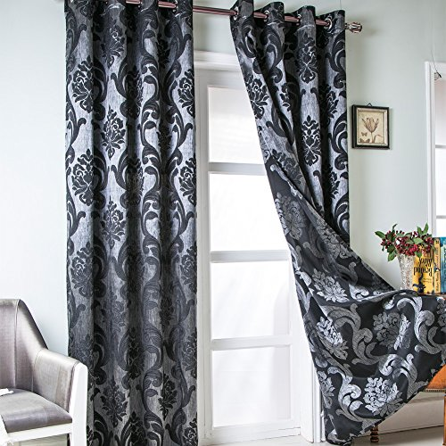 NAPEARL Damask Curtains 96 Inch Length-Black Curtains for Living Room, European Style Jacquard Room Darkening Curtains for Bedroom, Set of 2 Panels, Each 52 x 96 Inches