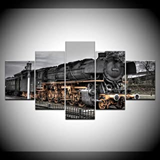 OUPDJ 5 Canvas Paintings Retro steam Train 5 Piece HD Wallpapers Art Canvas Print Modern Poster Modular Art Painting for Living Room Home Decor