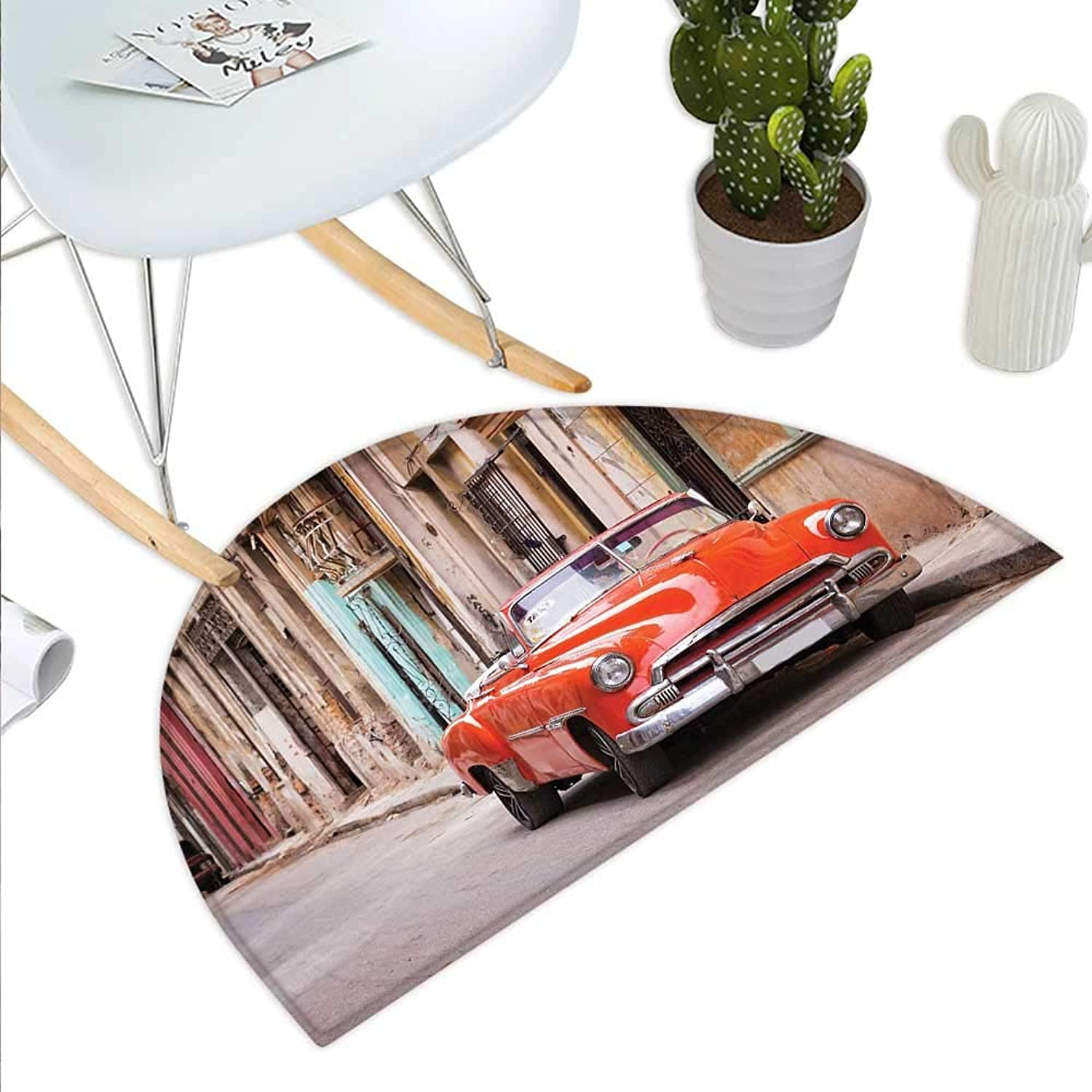 Cars Semicircle Doormat Classical American Car in a Street with Ancient Houses Caribbeans Havana Cuba Halfmoon doormats H 43.3  xD 64.9  orange Sand Brown