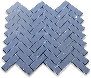 Nero Marquina Black Marble Herringbone Mosaic Tile 1 x 3 Honed