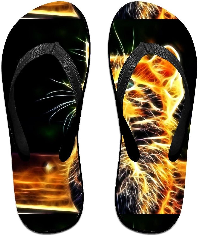 Unisex V Flip Flops Abstract Cat Light Personalized Summer Slipper