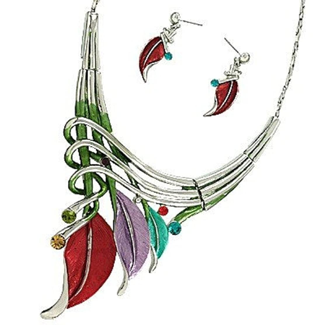 CFG ONLINE Leaf Statement Necklace and Earring Set /16