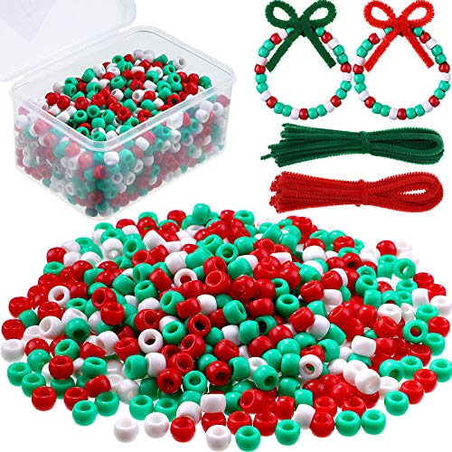 800 Pieces Christmas Pony Beads Plastic Pony Beads Red Green White Pony Beads and 50 Pieces Christmas Pipe Cleaners Chenille Stems for Christmas Decorations DIY Crafts Jewelry Making