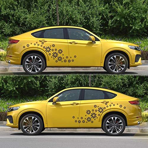 MRQXDP 60 stks Daisy Bloem Gepersonaliseerde Auto Stickers PVC Duurzame Auto Styling Body Decoratieve Decals Zwart. murales behang pared slaapzaal Decoratie