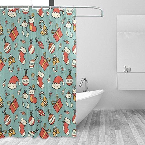 JSTEL Weihnachten, Duschvorhang, schimmelresistent, wasserdicht aus Polyester, extra lang, 72x 72Zoll, für Badezimmer, Dusche, Bad-Duschvorhang, mit 12Haken