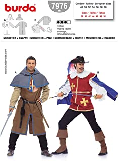 Burda 7976 Mens Pattern Musketeer, Page, Castle Knight Costume Size 38 - 50 (Euro 48 to 60)
