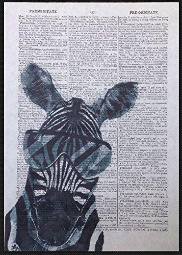 Parksmoonprints Affiche de dictionnaire vintage Motif zèbre