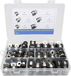Cable Clamp, 52 Pieces 304 Stainless Steel Rubber Cushion Pipe Clamps Assorted in 5 Size 1/4'' 5/16'' 3/8'' 1/2'' 5/8''Ass...