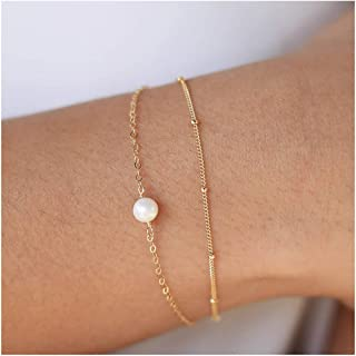 Gold Tiny Pearl Bracelet,14K Gold Plated Cute Beaded Freshwater Cultured Pearls Tiny Charm Dainty Handmade Bracelet for Women
