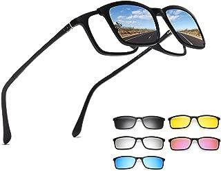 Polarized Sunglasses Men Women 5 In 1 Magnetic Clip On Glasses
