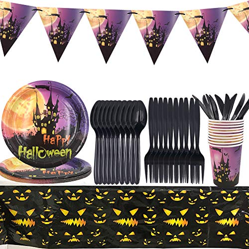 Halloween Disposable Tableware – YUESEN 51PCS Party Supplies Tableware Serves for 10 Guests with Paper Plates Paper Cups Straws and Tablecloth
