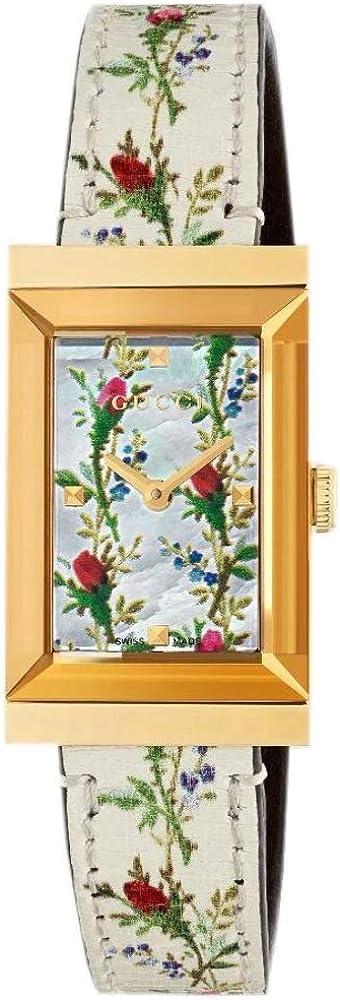 Gucci orologio per donna g-frame,cassa in acciaio inossidabile pvd color oro giallo,cinturino in pelle YA147407
