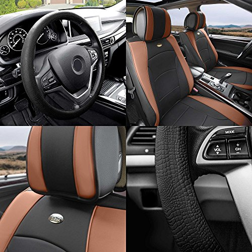 FH Group PU205102 Ultra Comfort Highest Grade Faux Leather Seat Cushions (Brown) Front Set with Gift – Universal Fit for Cars Trucks & SUVs