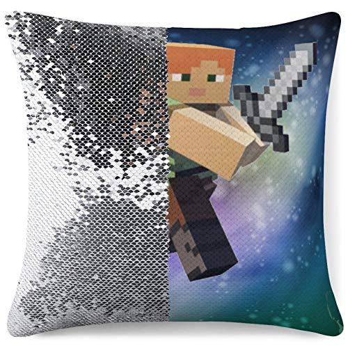 M-inecraft - Funda de almohada reversible con purpurina y lentejuelas, diseño de secuencia de moda, funda de cojín para sofá, tamaño único
