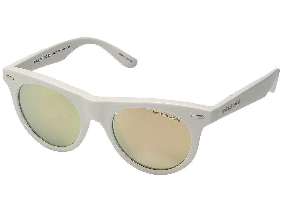 Michael Kors Bora Bora 0MK2074 49mm (White Acetate/New Liquid Rose Gold Mirror) Fashion Sunglasses