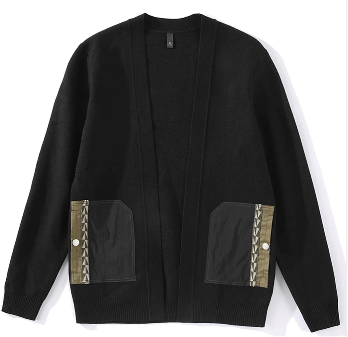 TJLSS Patchwork Lapel Sweater Zipper Pocket Decoration Men's Retro Slim Knit Cardigan (Color : Black, Size : XL Code)