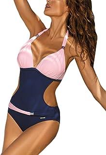 Aleumdr Monokini Swimsuit Women's Halterneck Swimwear Sexy Push Up Tankini Bandeau with Bikini Triangle S-XL