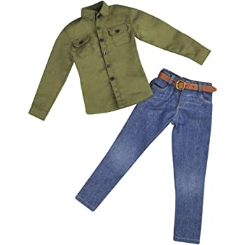 """【FREE SHIPPING】1//6 GREEN Long Sleeves Shirt Blue Jeans for 12/"""" MALE Figure"""