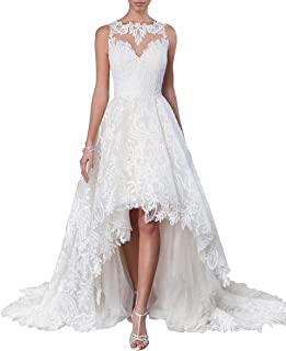 cb78c57944bc Dreamdress Women's Hi-Lo Wedding Dress Lace Bridal Ball Gown Prom