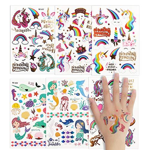 Colmanda Tatouages Ephémères Enfants, 4 Pcs Tatouage de Sirène + 2 Pcs Tatouage de Licorne, Tatouages Temporaires Licorne Tatouages temporaires de Licorne pour Enfants Fête d'anniversaire Cadeau