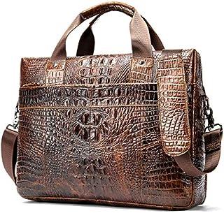 YXHM AU Men's Business Shoulder Bag with Crocodile Pattern Gentlemen's Leisure Shoulder Bag (Color : Coffee)