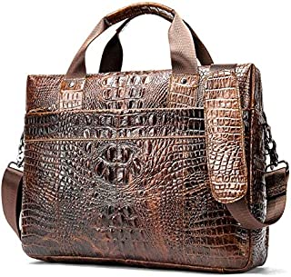 Men's Business Shoulder Bag with Crocodile Pattern Gentlemen's Leisure Shoulder Bag JAUROUXIYUJINn (Color : Coffee)