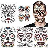 Halloween tatuaje facial temporal paquete de 8 kit de maquillaje de calavera suministros de fiesta...