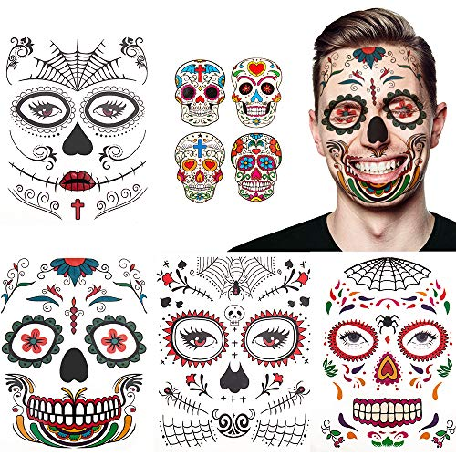 Halloween tatuaje facial temporal paquete de 8 kit de maquillaje de calavera suministros de fiesta de disfraces de Halloween