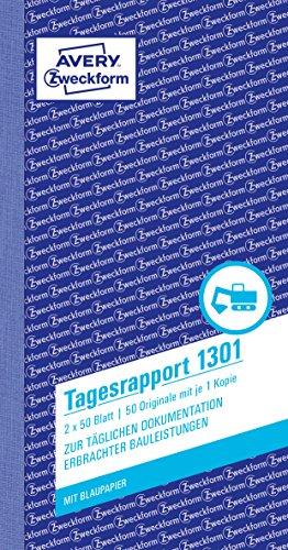 AVERY Zweckform 1301 Tagesrapport (105x200 mm, mit 2 Blatt Blaupapier, von Rechtsexperten geprüft, für Deutschland und Österreich zur täglichen Dokumentation der Arbeitsleistung, 2x50 Blatt) weiß/gelb